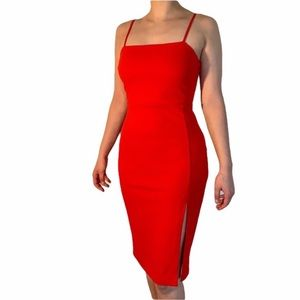 Express Red Bodycon Square Neck Dress